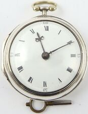 Antique verge pair case silver pocket watch E Hemmen London HM1791 Working order