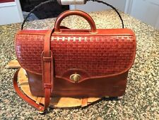 HARTMANN by Lombardo Brown Woven Leather Briefcase Attaché Computer Luggage Case