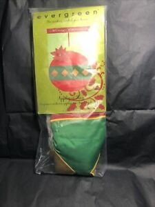 """Evergreen Christmas Applique Flag LARGE 28 X 44"""" Ornament Poinsetta NEW Red Gree"""