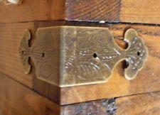NEW Set of 4 Vintage antique brass colour metal box corners braces straps C029
