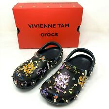 NIB Vivienne Tam x CROCS Multicolor Studded Dragon Print Clog Shoes Size 10