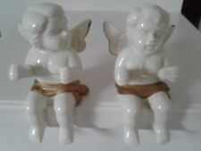 "Pair of Vintage Angel Porcelain Cherub Figurine White and Gold Angel 6"" x 4""Tall"