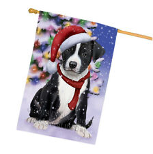American Staffordshire Terrier Dog In Christmas Holiday House Flag Flg53923