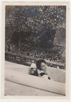 Pretty Young Girl Female Smile Snapshot Creative Unusual Angle 1920s Photo