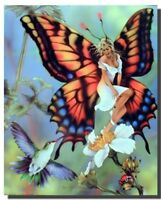 Fairy Butterfly & Flower Fantasy Picture Wall Decor Fine Art Print Poster 16x20