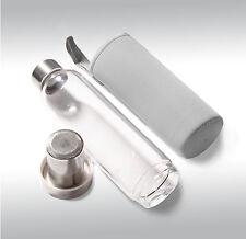 Thermo Teeglas  Neopren grau mit Sieb Sportflasche  Tea to go isolierend