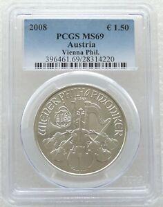 2008 Austria First Year Vienna Philharmonic 1.5 Euro Silver 1oz Coin PCGS MS69