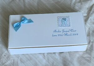 30 White Indian Sweet Boxes with bow & Baby Boy satin romper emblem Birth Mathai
