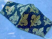 Fleur De Lis Black/Gold 100% Cotton Cloth Fabric Washable Re-Useable Reversible