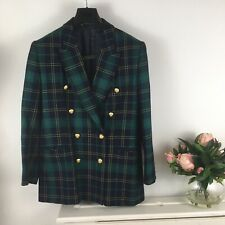 M&S St Michael Tartan 100% Wool Size 12 Medium Military Green Double Breasted
