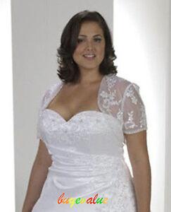 UK 6-28 plusJacket  Bolero white Lace Wedding Evening Dresses ivory Coat large