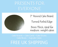 """7"""" Inch Round Silver Cake Board 3mm FREE SHIPPING"""