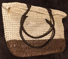 Vintage Macrame Straw Tote Handbag Purse Beach Bag Boho - Very Cool - XLNT COND!