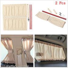 2pc 70cm Car SUV Window Windscreen UV SunShade Drape Visor Valance Curtain Beige