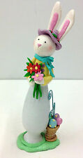 """Standing Easter Bunny with Bouquet of Flowers~~Container of Eggs on Base. 9"""" T"""