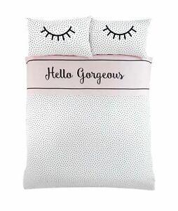 Bedding Heaven®  REVERSIBLE HELLO GORGEOUS Duvet Cover Set. EYELASH, POLKA DOT.