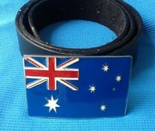 AUSTRALIA AUSTRALIAN FLAG AUSSIE OUTBACK BACK PACKER BUCKLE BLACK LEATHER BELT