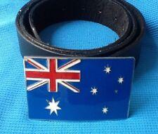 AUSTRALIA AUSTRALIAN FLAG AUSSIE OUTBACK BACK PACKER BUCKLE BLACK LEATHER BELT