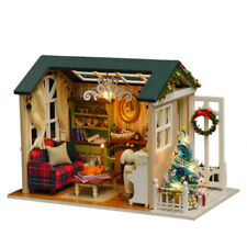 DIY Dollhouse Holiday Time Miniature House Furniture LED Light Child Xmas Gift