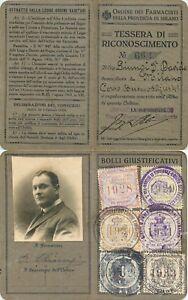 Tessera di riconoscimento Ordine dei farmacisti provincia di Milano - 1928/33