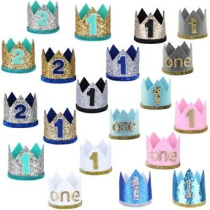 Baby Boys Girls 1st Birthday Sparkly Party Crown Hat Shiny Headband Photo Props