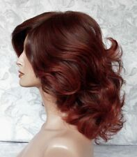 Medium Length Thick Wavy Brown/Auburn High Heat Ok Full Synthetic Wig - G1218