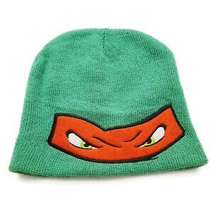 "Teenage Mutant Ninja Turtles Raphael Winter Hat 8"" x 9"" Green Red Mask Eyes 2016"