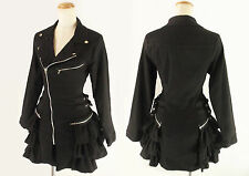 Women Kawaii Motorcycle Style Asymmetrical Zipper Frill Jacket Gothic Punk Black