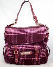 JUICY COUTURE Maroon & Pink Wool Blend Houndstooth Plaid Front Flap Shoulder Bag