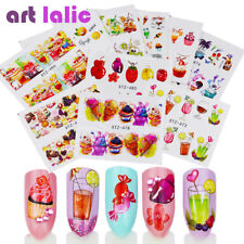 18pcs Nail art  Water Transfer Stickers Colorful Fruit Cake Candy Party Deco