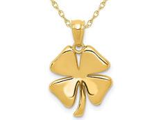Четыре листа клевер кулон ожерелье в 14K желтое золото