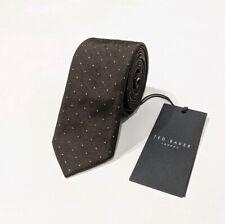 Neue Ted Baker Seide skinny tie Polka Dot dunkelbraun 5cm Made in Italy NWT