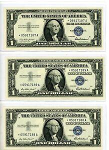 STAR NOTES - 3 CONSECUTIVE - 1957 - $1 - SILVER CERTIFICATES - BLUE SEAL