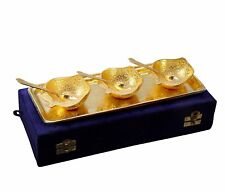 Gold Plated Apple Shaped Brass Bowls And Tray Set of 7 Pcs Dining and Serve Uses