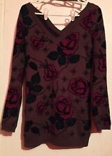 Betsey Johnson Spider Rose Tunic Sweater Dress Top Sz S