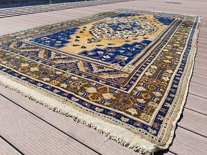 "Beautiful Antique Cr1930-1939s, Wool Pile Muted Indigo Dye Oushak Rug 6'x11'8"""