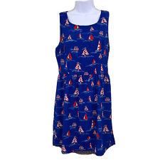 Pink Owl Womens Dress Size L Blue Red Sailboat Novelty Print Sailing *runs small