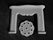 Dolls house ornate style fire place and ceiling rose two piece set in white
