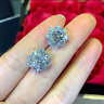 4Ct Round Cut Moissanite Push Back Cluster Stud Earrings 14K White Gold Finish