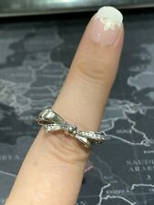 Sterling Silver Bow Ring set with White Topaz Size Q BNWOT