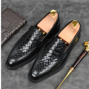 Men's Shoes Weave Pattern Faux Leather Slip On Dress Loafers Business Flat Shoes