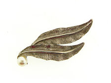 Faux Pearl Bobbie Pin Hair Clip Vintage Gold- Silver Plate 2 Sculpted Leaf