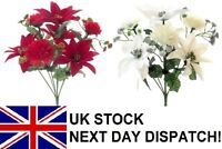 30cm POINSETTIA and CHRYSANTHEMUM Flower Bouquet Christmas Ivy Fern Festive