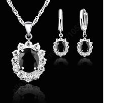 Women's Elegant Silver Princess Kate Style CZ Pendant Necklace And Earring Set