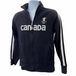 Canada Olympics VANCOUVER 2010 Navy Blue Full Zip Stand Up Collar Fleece Jacket