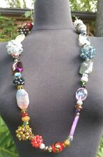 "36"" STUNNING LARGE BEADED NECKLACE, MULTI-COLORED GLASS AND STONES BEADS"