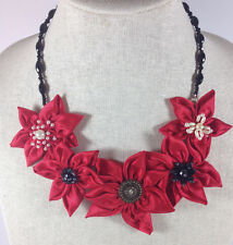 Statement Necklace Red Fabric Floral Flower Textile Upcyle  Handmade Crystal