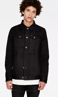 G Star Raw Denim Slim Jacket Coat Mens Black Button Down Size Small *REF71*