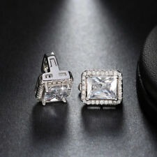 2 Ct Emerald Cut Antique Cz 925 Silver Bridal Stud Dangle Earrings