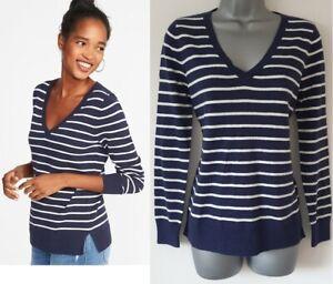 Ladies GAP Jumper Womens Sweater NAVY STRIPE Cotton Knit Long Sleeve Pullover
